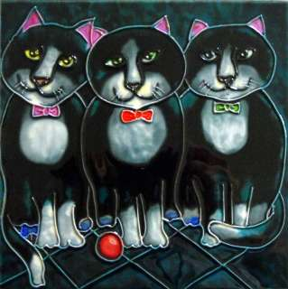 Boys Night Out Cat Tile Trivet Ceramic Wall Art 8x8 New
