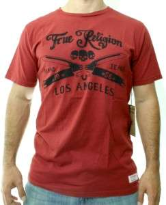 NWT TRUE RELIGION MENS SKULL BURGUNDY RED 100% AUTHENTIC COTTON T