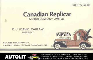 1975 Auburn Speedster Kit Car Business Card Canada