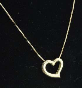 Luxe Group 18K Yellow Gold Open Heart Slide Charm Pendant Box Chain