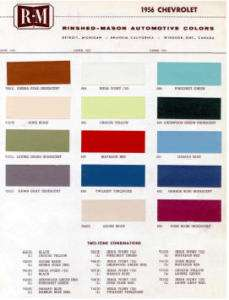 1956 CHEVY PAINT COLOR SAMPLE CHIPS CARD OEM COLORS