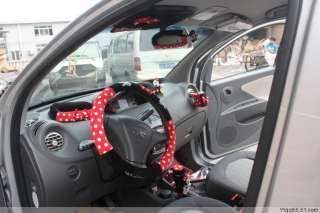 New cartoon Minnie Mouse Red + Black car Dot Steering Wheel Holder