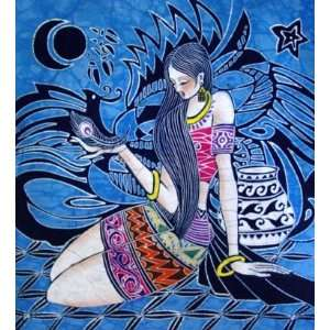 High Quality Chinese Batik Tapestry Girl Feather Pic