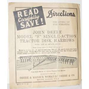 John Deere Model S Disk Harrow Directions: Company: Books