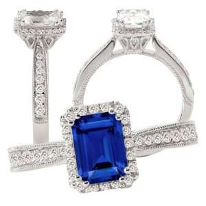 18k Chatham 7x5mm emerald cut blue sapphire color #3 engagement ring