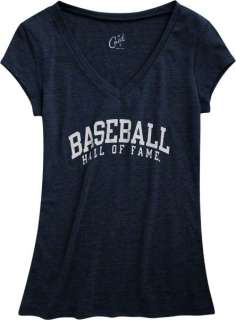 National Baseball Hall Of Fame Womens Navy V Neck Tri Blend T Shirt