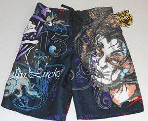 Tattoo Tattoo By Free Spirit Black Patterned Board Shorts Sizes S, M