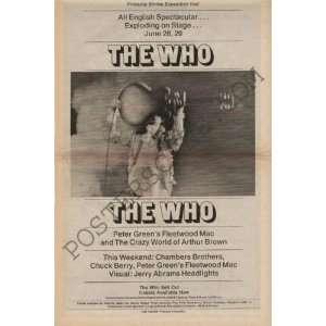 The Who Fleetwood Mac Original Concert Poster Ad 1969