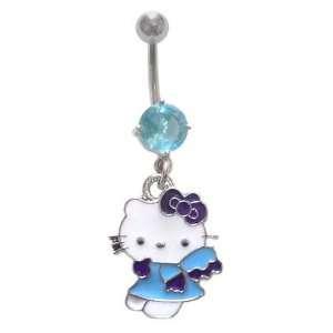 Aqua Lt blue Hello Kitty Angel dangle Belly navel Ring piercing bar