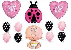 BABY SHOWER BALLOON KIT Ladybug Girl Garden Decorations Supplies Pink