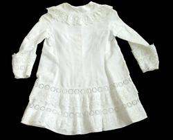 FRENCH VICTORIAN Baby Doll WHITEWORK GOWN Dress Coat VF
