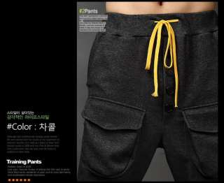 Mens Pockets Buttons Baggy Harem Pants Training Pants Trousers