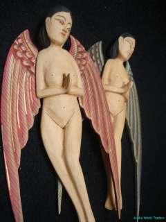 Goddess Fairies Christmas Ornament~Hand carved wood Bali Art