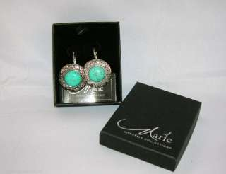 MARIE OSMOND EARRINGS BALI STYLE TURQUOISE STONE ROUND