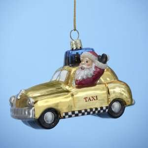 Pack of 6 New York City Yellow Taxi Cab Glass Christmas Ornaments 3.75