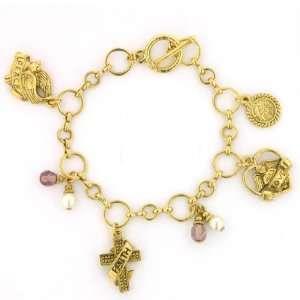 1928 Womens Bracelet, Faith, Love & Joy Charm Bracelet Jewelry