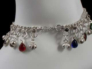 BOOT DECORATION ANKLET SILVER TONE WITH BELL CHARMS, YIN YANG, MULTI