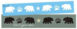 Lg STENCIL Bear Track Paw Print Border Cabin Lodge Sign