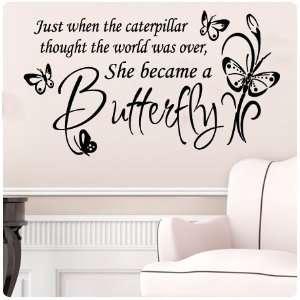 Large Black Butterfly CaterpillarWall Decal Little Girls