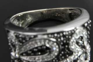 Gold Black White Diamond Flower Cigar Dome Wide Cocktail Band Ring 5.5