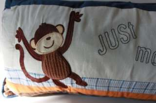 MONKEYING AROUND MONKEY TWIN QUILT SET   BLUE/BROWN/ORANGE/WHITE