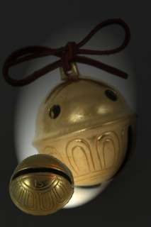 Polar Express Reindeer Bell # 9 Brass Bell w tie 9bl