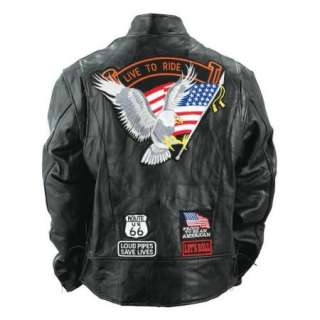 design genuine buffalo leather motorcycle jacket new multiple patches
