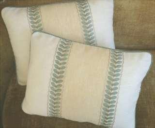 Colefax Fowler Linen Fabric Custom Designer Throw Pillows New Set of 2