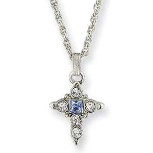 Silver tone Blue & Clear Crystal Cross Necklace/Mixed