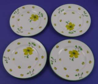 VICTORIA, England SALAD PLATES, Yellow Flowers & Butterfly, Green Trim