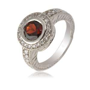 00cttw Garnet and Natural White Round Diamond (SI Clarity, GH Color
