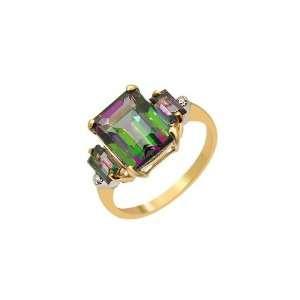 9ct Yellow Gold Green Topaz & Diamond Ring Size 7 Jewelry