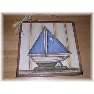 Blue Star Sail Boat Wood Wall Art Sign Beach House Boats