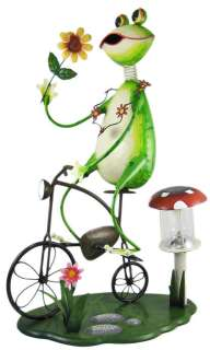 Cool Bike Riding Frog Solar Lamp Garden Statue Metal