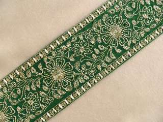 Wide, Embroidered, Iron On Trim. 3 Yards. Gold on Green