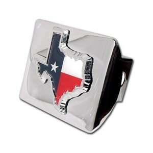 Texas Shape Premium Chrome Metal Hitch Cover with Texas