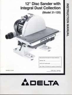 Delta 12 Disc Sander Model #31 120 Owners Manual