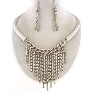 Fashion Jewelry ~ Box Chain with Clear Crystals Metal