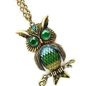 Fancy Large Burnished Gold Tone Green Teal Blue Owl Pendant Charm 30