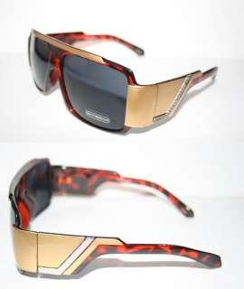 Flat Top Sunglasses Super Shades Brown Gold Frame 80s Retro Flattop