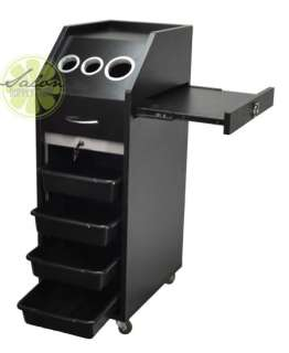 Salon Trolley Cart HAIR Beauty Salon Equipment BLACK Shelves & Wheels