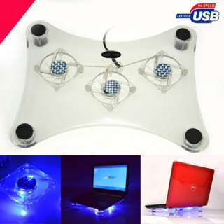 USB NOTEBOOK COOLER COOLING PAD 3 FANS FOR LAPTOP PC
