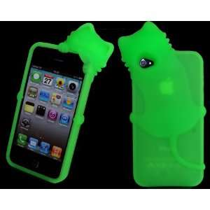 Green Cute Lovely 3D Cat Silicone Case Back Cover for Apple iPhone 4
