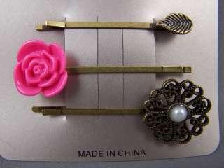Leaf Rose Filigree Flower bobby hair pin barrette set 3