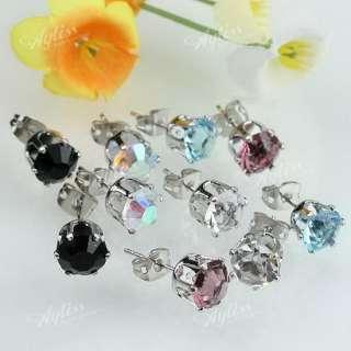 Pairs Job Lot Ear Stud Earrings & Mix Color Crystal Glass Bead Free