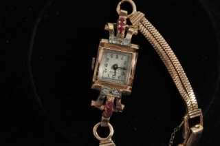 STUNNING VINTAGE LADIES GLYCINE 14K ROSE GOLD RUBY+ DIAMOND CASE