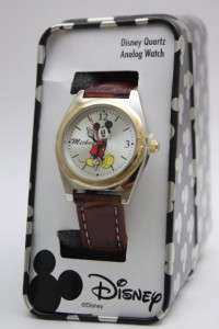 Disney Mickey Mouse Classic Two Tone Brown Leather Band MCK613