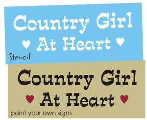 STENCIL Country Girl Heart Western Cowgirl Farm Signs