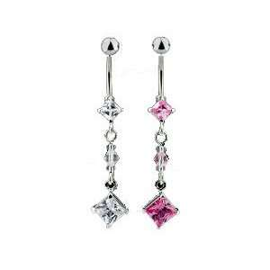 Baby diamond cut belly button ring Pink Jewelry
