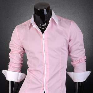 SWM Mens Casual Slim Fit Dress Shirts Pink 4 Size S1073
